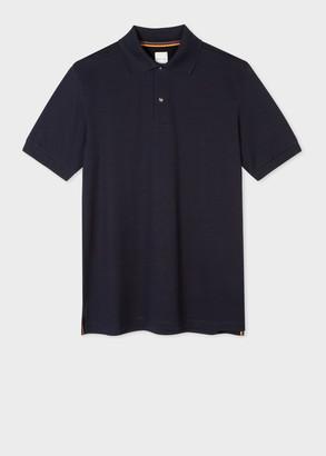 Paul Smith Men's Navy Cotton-Pique Polo Shirt With Charm Buttons