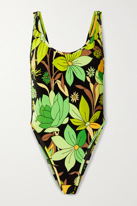 Fendi Reversible Printed Stretch-chenille Swimsuit - Green