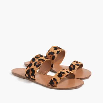 J.Crew Leopard calf hair easy summer slide sandals