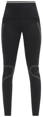adidas by Stella McCartney High-rise Reflective-tape Performance Leggings - Black