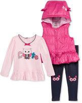 Nannette Baby Girls' 3-Pc. Hooded Vest, Owl Tunic & Denim Leggings Set