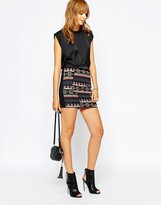 Vila Embrodiered Geo-Tribal Mini Skirt