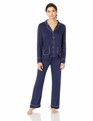 Splendid Women's Button up Long Sleeve Top Bottom Classic Pajama Set Pj