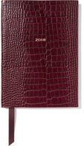 Smythson Soho 2018 Croc-effect Glossed-leather Diary - Burgundy