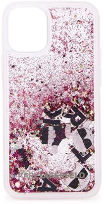 Karl Lagerfeld Paris Liquid Pink Glitter iPhone 12 Mini Case