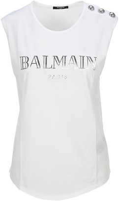 Balmain Logo Print Sleeveless Top