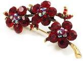 Avalaya Swarovski Crystal Floral Brooch (Antique Gold & Burgundy Red)
