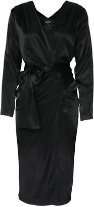 Bluzat Black Satin Wrap Around Dress