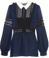 Self-Portrait Georgette And Guipure Lace Blouse - Navy