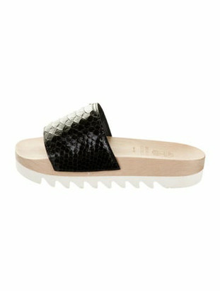 Brunello Cucinelli Snakeskin Slide Sandals Black