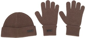DSQUARED2 Knitted Beanie And Gloves Set