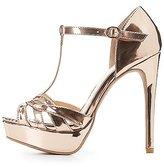 Charlotte Russe Metallic T-Strap Platform Heels