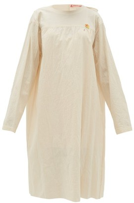 Raf Simons Tie-back Collarless Cotton-canvas Dress - Womens - Ivory