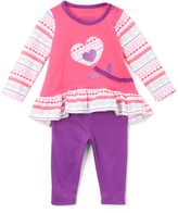 Buster Brown Fuchsia Purple Flower Heart Ruffle Tee & Leggings - Infant