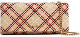 Miu Miu Embroidered Raffia Shoulder Bag - Beige