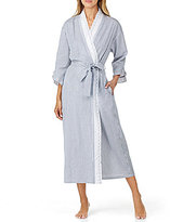 Eileen West Scalloped Eyelet-Trimmed Striped Seersucker Ballet Wrap Robe