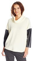Calvin Klein Women's Turtleneck with Faux Leather Sleeves