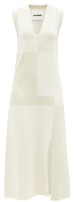 Jil Sander Patchwork Front-slit Knit Midi Dress - Cream Multi