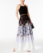 Betsy & Adam Illusion 2-Pc. Printed Halter Gown