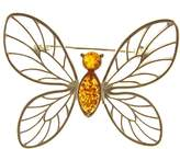 Cozmos Brooches BALTIC AMBER AND STERLING SILVER 925 DESIGNER COGNAC BUTTERFLY BROOCH PIN JEWELLERY JEWELRY
