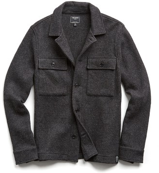 Todd Snyder Italian Boucle Knit Shirt Jacket in Charcoal