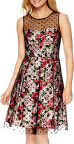 Studio 1 Sleeveless Floral Print Fit-and-Flare Dress