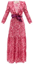 Adriana Degreas Ruffled V-neck Floral-print Silk Maxi Dress - Womens - Pink Print