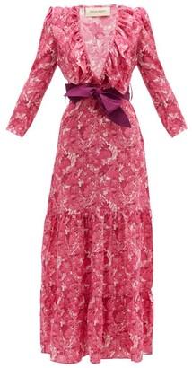 Adriana Degreas Ruffled V-neck Floral-print Silk Maxi Dress - Womens - Pink Print