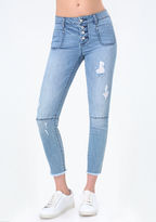 Bebe Button Fly Cutoff Jeans