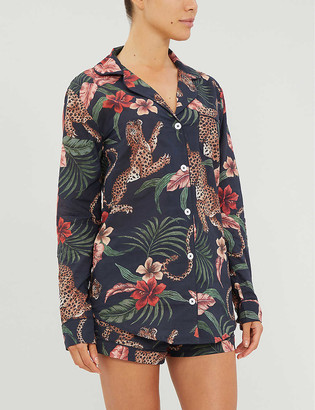 Desmond & Dempsey Animal-print cotton pyjama set