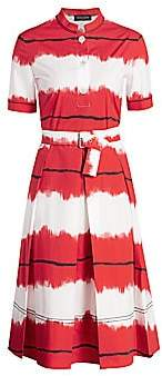 Piazza Sempione Women's Pictoral Stripe Fit-&-Flare Belted Dress