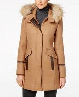 Trina Turk Coyote-Fur-Trim Wool-Blend Coat