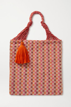 Nannacay Bianca Tasseled Crocheted Cotton-blend Tote - Orange