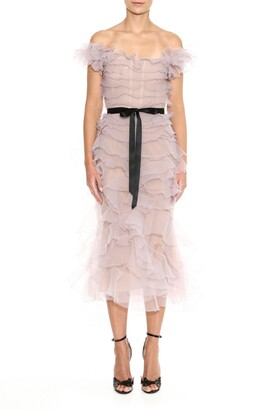 Marchesa Ruffle Off the Shoulder Tulle Cocktail Dress