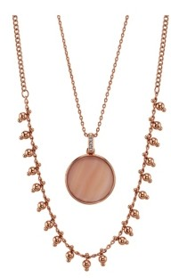 Unwritten Rose Gold Flash Plated Mother Of Pearl Disc Layered Pendant Necklace with Beaded Second Chain
