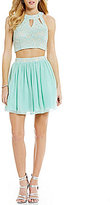 Xtraordinary Keyhole Neckline Lace Top Two-Piece Dress