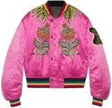 Gucci Embroidered Reversible Silk Bomber Jacket