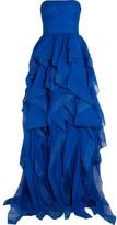 Reem Acra - Strapless Ruffled Silk-chiffon Gown - Bright blue