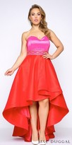 Mac Duggal Color Block Strapless High Low Plus Size Prom Dress