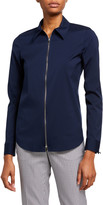 Lafayette 148 New York Plus Size Connor Zip-Front Long-Sleeve Blouse
