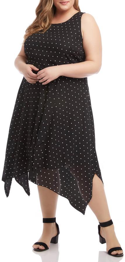 Karen Kane Polka Dot Sleeveless Handkerchief Hem Dress