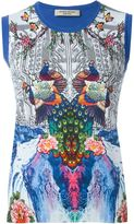 Piccione Piccione Piccione.Piccione - peacock print contrast trims knitted gilet - women - Silk/Cotton - 40