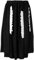 Comme des Garcons ruffled appliqué gathered skirt - women - Cotton/Wool - S