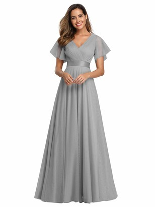 Ever Pretty Ever-Pretty Women's V Neck Floor Length A Line Empire Wasit Short Sleeve Tulle Long Bridesmaid Dresses Blue 10UK