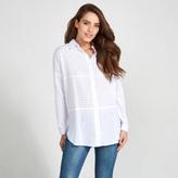 Apricot White & Blue Stripe Print Oversized Shirt