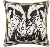 Roberto Cavalli Foglie Kaft Silk Bed Cushion - Black - 60x60cm