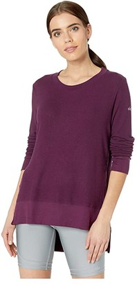 Alo Glimpse Long Sleeve Top (Black Plum Heather) Women's Clothing