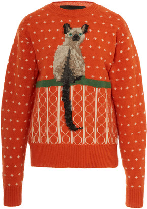Marc Jacobs Cat-Jacquard Wool Sweater