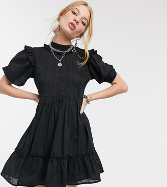 Reclaimed Vintage inspired high neck dress with pin tuck and embroidery