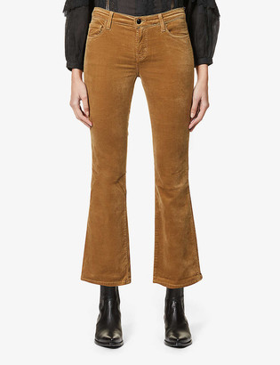 J Brand Selena cropped bootcut mid-rise stretch-velvet trousers